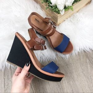 Mossimo Brown and Blue Sandals Wedges